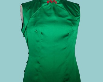 Jade Green Sleeveless Silky Qipao Cheongsam Top, Oriental Dress, Chinese Dress