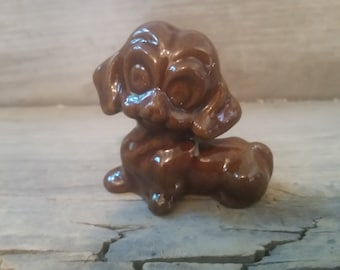 Dog figurine vintage, ceramic hound dog figurine, vintage hound dog collectible