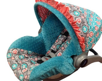 Natalie Infant Car Seat Cover Teal Coral