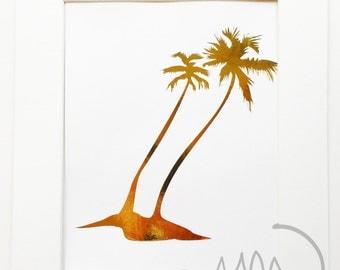 Palm Trees in the breeze Shiny Metallic Gold Foil print 8x10