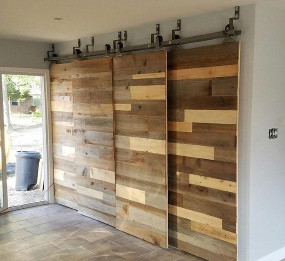 Custom Sliding Barn Door Reclaimed Stacked Pattern From