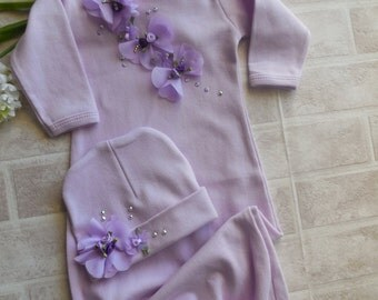 Newborn Gown,Newborn Girl Take Home Outfit, Layette Gown Cap, Lavender Baby Girl Coming Home Outfit,Style :G-101-Lav.