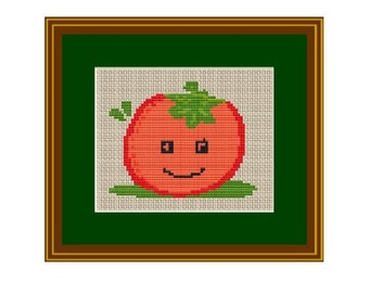 Happy Tomato Cross Stitch Pattern. Counted Pattern. PDF Instant Download.Kitchen Decor. Art.