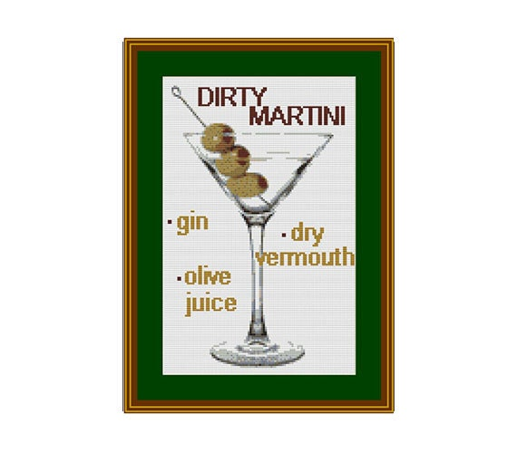 dirty martini counted cross stitch pattern pattern pdf. Black Bedroom Furniture Sets. Home Design Ideas