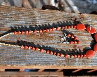 Red Jasper Stone Necklace and Earrings