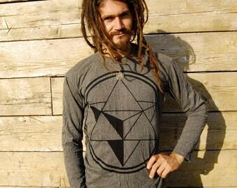 Merkaba Mens Long Sleeve Shirt Printed soft Cotton Sacred geometry Yoga clothing star tetrahedron boho geometric flower of life yantra MLT1M