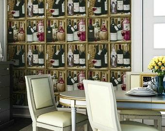 Brown Faux Wine Shelf Wallpaper
