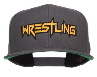 Wrestling Embroidered Snapback Cap