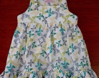 Baby girl dress, handmade, pure cotton, 12-18 mos, lined bodice, raised waist, gathered skirt, big ruffle hem, greens, yellow, white, grey