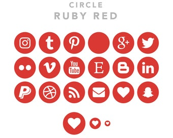 57 Social Media Icons - Circles - Ruby Red Pack - Instant Download