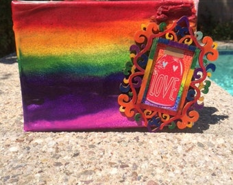 Love in a Jar - Rainbow Melted Crayon Art