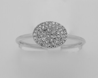 14K White Gold Diamond Oval Plate Pave Ring