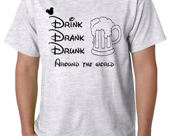 Disney Drinking Around the World T-Shirts, Epcot Drink Drank Drunk T-shirts, Brew Tour Around the World