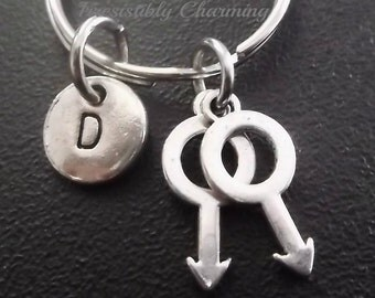 Two male symbols, Gay, Gay Pride charm, keychain, bag charm, purse charm, monogram personalized item No.430