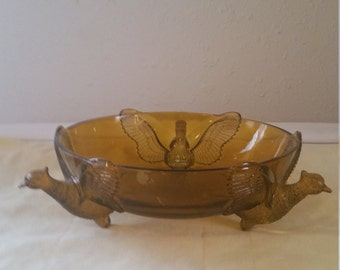 Amber painted glass bowl with pheasant/vintage glass bowl/glass bowl
