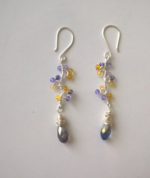 forget me not earrings dangle silver and gemstone