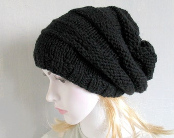 Black Chunky Knit Hat Women Black Hat Hand Knitted Womens Hat Ladies Black Hat Womens Knit Hat Ladies Knit Hat Grey Ladies Hats