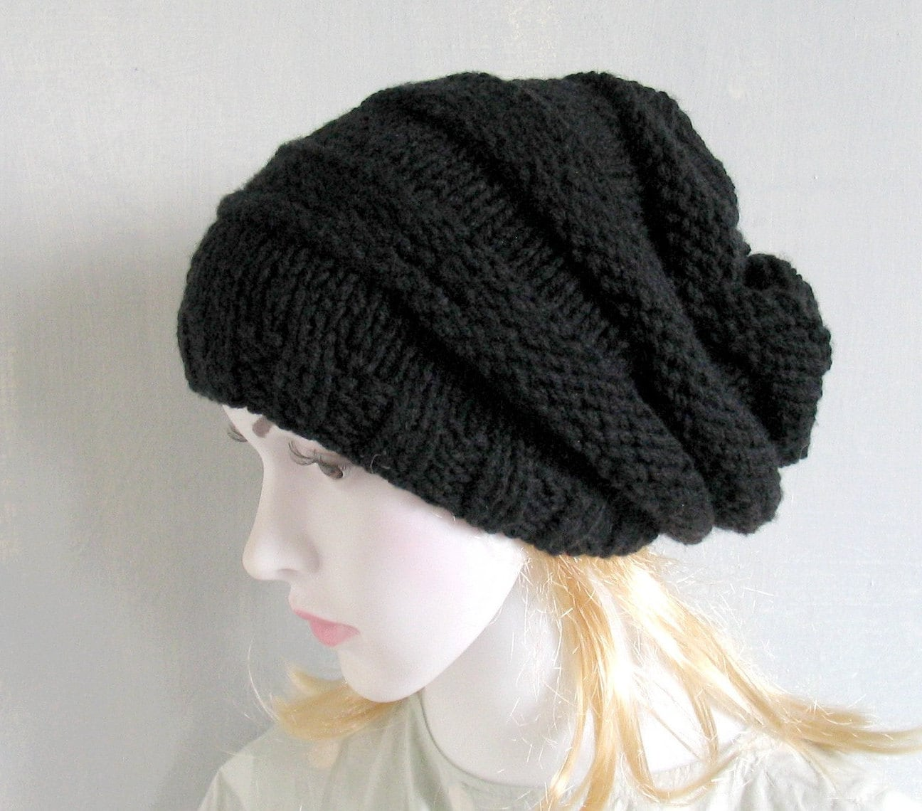 black chunky knit hat black hat knitted womens hat