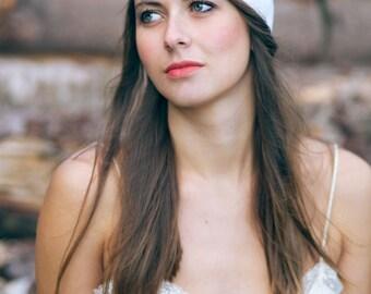 Wedding Headband, boho wedding headband, folk wedding headband, romantic headband, white and glitter headband.