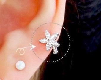 Flower hoop cartilage earring, hoop earrings, delicate flower tragus earring, endless hoop, dainty ring earring, CZ flower helix piercing