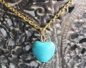 Turquoise Heart Necklace - Gold Chain - Turquoise Heart Bead Necklace