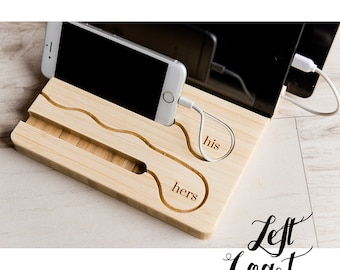Charging Dock His and Hers iPhone iPad Tablet Wood Stand Android Mens Moms Wedding Engagement Couple Personalized Engraved