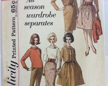 1960s vintage sewing pattern Simplicity 4596 petite Bust 31.5 Mad Men retro 60s full skirt slim skirt blouse pants and jacket preppy style
