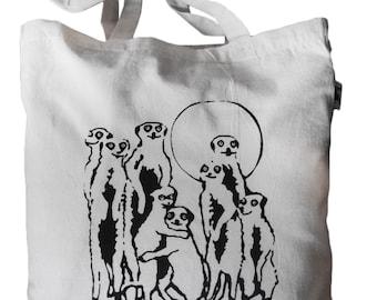 """Jute bag """"Meerkats are watching you"""", fair trade, natural, black printing"""