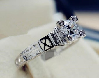 18K White Gold Sterling Silver Paris Eiffel Tower ring with cubic zirconia stones in sizes 7, 8 and 9