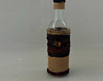 Unique Handcrafted Leather and burlap Oil Jar/Container Glass Bottle with Cork Top Stopper