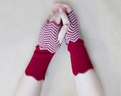 Knitted Chevron Wrist warmers. Handmade Hand warmers made from Merino Wool in Maroon Red, Pink, White and Rose Gold Lurex