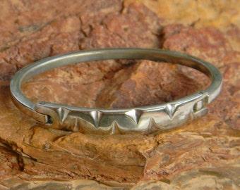 Vintage Taxco Mexico Silvertone Child's Hinged Bracelet