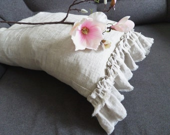 Gray Pillow case with ruffle Linen white ruffled pillowcase Linen Fringe pink Pillow sham Prewashed linen natural unbleached grey linen
