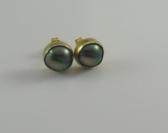 Bezeled Tahitian Pearl Studs in 24kt Gold Vermeil (ERG1)