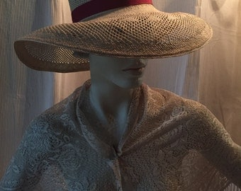 I Magnin 1960's Natural Straw Wide Brim Hat Cranberry Grosgrain Ribbon