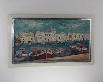 Original Hans Helpenstell Oil Painting ( White Port ) 1972s Original signature unique rare artwork German Art History