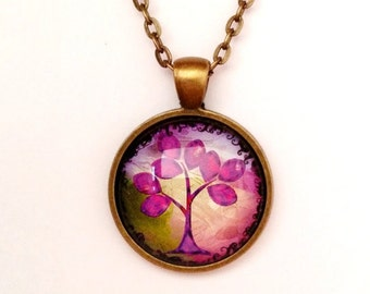Purple Tree of Life Pendant Necklace,Silver or bronze