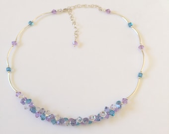 Sterling Silver Necklace, Swarovski Crystal Necklace , Lavender Garden Necklace