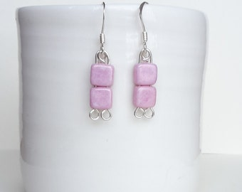 Pink Czech Square Sterling Silver Earrings, Pink Earrings, Square Earrings, Czech Earrings, Sterling Silver Drop Earrings