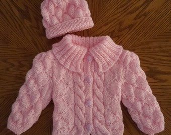 Knitted Baby Jacket, Knitted  Newborn Outfit, Knitted Baby Set, Pink Baby Sweater, Knitted Baby Clothes, Knitted Baby Cardigan, Pupolino.