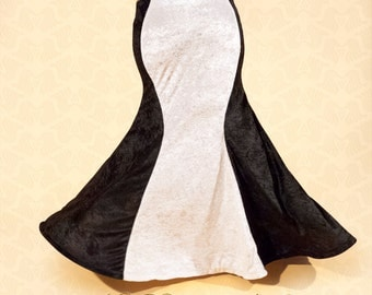 Mermaid Skirt, Black & White crushed Velvet, YOUR SIZE, bellydance tribal fusion, vintage style, 1930s Hollywood glamour