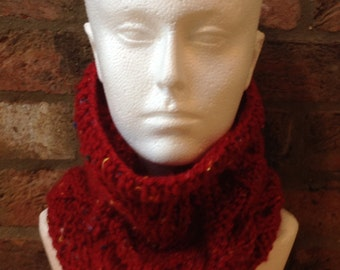 Hand knitted cable knit neck warmer/snood