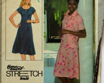 Uncut 1970s Simplicity Vintage Sewing Pattern 8416, Size 12-14-16; Misses' Pullover Dress and Unlined Jacket