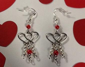 Heart Earrings Valentine's Earrings Valentine Jewelry Double Heart Dangle Earrings Handmade Valentine's Gift for Her Czech Pearl Earrings