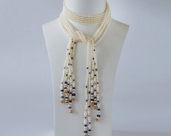 Pearl Lariat with Saphire and Gold