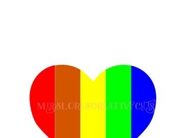 Rainbow  Heart Cut file Lovescrapbook vinyl decal wood sign cricut cameo Commercial use