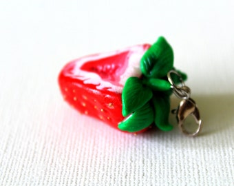 Strawberry charm necklace, Sliced strawberry, Polymer clay jewelry, Miniature food, Polymer clay food, Red strawberry, Strawberry necklace