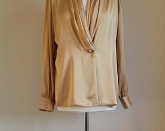 SALE! Ladies gold blouse - 80's - Size 12 - 14
