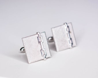 Vintage Swank Silver Toned Square Cufflinks - Chain Link Design - Vintage Cufflinks - Mens Accessories - Mens Jewelry - Gifts for Him