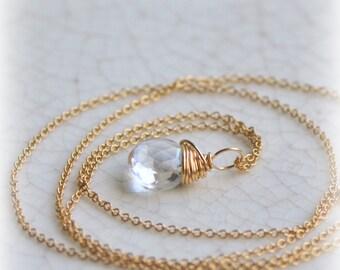 Clear Quartz Gemstone Pendant Necklace, Briolette Pendant, Rock Crystal Necklace, Gold Clear Quartz, Gift Pendant, Blissaria